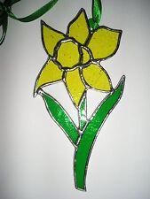 VETRO colorato Daffodil, Compleanno FIORE MARZO, Suncatcher Hand Made in England