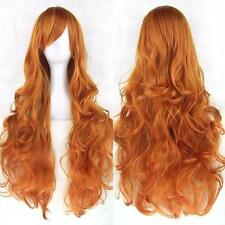 81CM Long Cosplay Synthetic Heat Resistant Curly Wavy Full Hair Wig Orange v3