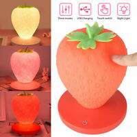Dimmable Strawberry Lamp LED Atmosphere Bedside Reading Night Light Rechargeable