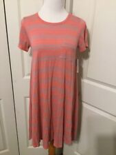 NWT Lularoe Coral And Mint Green Stripe Textured Carly Dress Size XXS