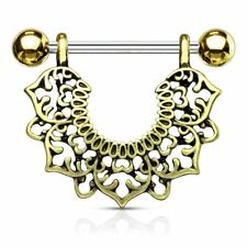 pendant flowers filigree Piercing nipple gold plated