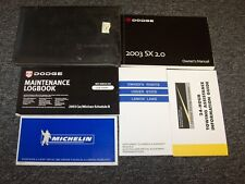2003 Dodge Neon SX 2.0 Owner Owner's Operator Guide Manual Set Sport R/T 2.0L