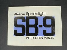 Nikon Sb-9 Speedlight Camera Flash Instruction Book / Manual / User Guide