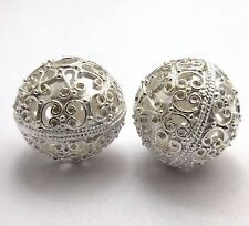 3 PCS BALI METAL BEAD 20MM ANTIQUED STERLING SILVER PLATED BEADS    #32