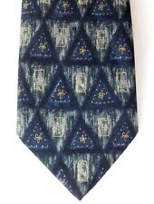 Triangles Pure silk vintage tie by M&S blue and green Gold spots and flowers