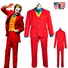 Joker New Mens Movie Arthur Fleck 4pcs Suit Set Clown Halloween Cosplay Costume
