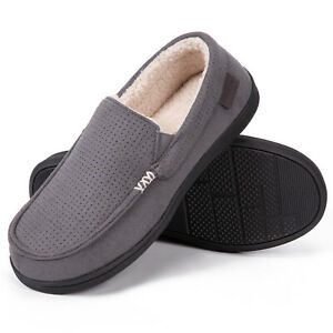 Men's Suede Memory Foam Moccasin Slippers with Sherpa Lining Non-Slip Shoes Size