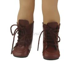 """Kids Role Play Toys for 18"""" American Girl Doll Shoes - Brown Lace Up Boots"""