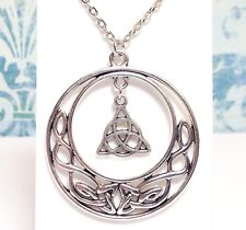 CELTIC KNOT CIRCLE_Large Pendant on Chain Link Necklace_Irish Triquetra Pagan