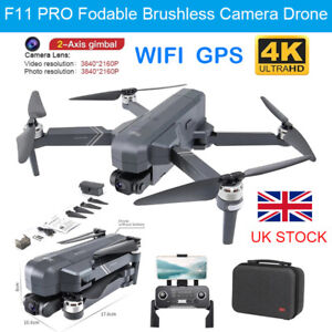 F11 Pro 4K 5G WIFI GPS FPV Camera Drone 2-Axis Gimbal Quadcopter Multicopters UK