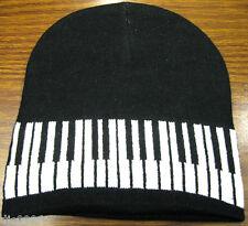 White and Black Musical Piano Keyboard Beanie Ski Hat Cap Beanie Style-New!