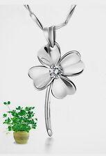 925 Sterling Silver Charm Clover Switzerland Zirconium Crystal Stone Necklace