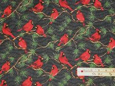 Winter's Song Red Cardinal Musical Blk Christmas Fabric by the 1/2 Yard  #33727