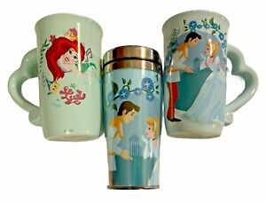 Disney Princess Cinderella 16.9 oz Latte Coffee Mugs and Travel Tumbler set of 3