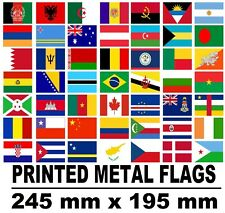 flags countries printed metal steel sign