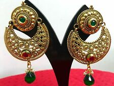 Indian Ethnic Bollywood Style Gold Tone Jewelry Necklace Earrings Set