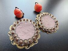 Ohrringe Ohrclips  Bronze mit achatstein und Pelz,von Catia Levy