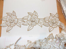 11cm gold white/ ivory embroidered guipure lace bridal wedding dress prom trim