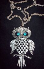 """LARGE OWL NECKLACE W/TURQUOISE EYES  24"""" SILVERTONE CHAIN"""