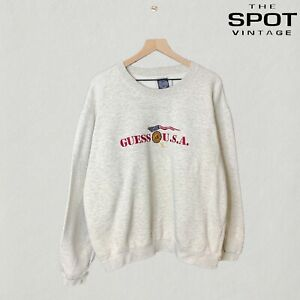 Vintage 90's Guess USA Embroidered Spell Out Crewneck Size XL Gray Streetwear