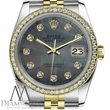 18K Gold 2 Tone Rolex 26mm Datejust Black MOP Mother Of Pearl with Diamond