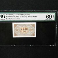 1967 Germany-Federal Republic 10 Pfenning, Pick # 26, PMG 69 EPQ Superb Gem Unc