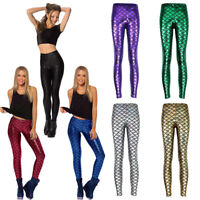 Women Fashion Fish Scale Mermaid 3D Printed Seamless Slim Pants Tights Trousers