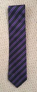 """Black/Purple/White Striped """"zadi"""" Tie Made In Italy BNWT"""