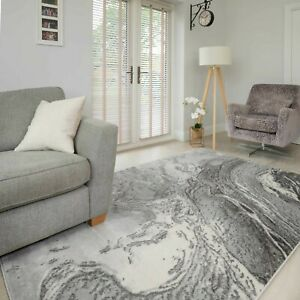 Grey Marble Rugs Swirl Effect Textured Thick Lounge Dining Room Rug Runner Mat