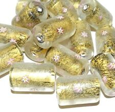 G3096 Pink Flower 20mm Round Tube Millefiori Gold Foil Lampwork Glass Beads 10pc