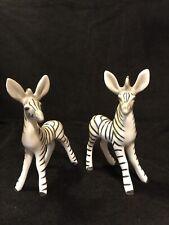 Pair Vintage Ceramic Zebra Figurines
