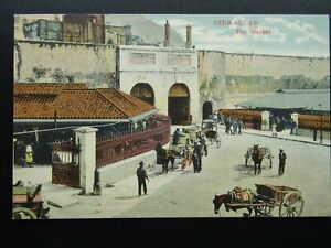 Gibraltar THE MARKET - Old RP Postcard by V.B. Cumbo