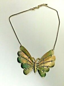 Large Fun Vintage reticulated Butterfly Silver tone Metal Necklace