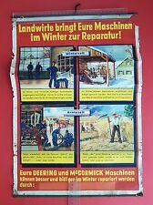 Cartellone PUBBLICITARIO Deering McCormick e per macchine 1939 tempo del raccolto periodo invernale