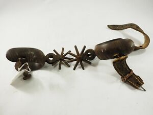 """Antique forged Heavy Bronze Silver Cowboy Spurs 2.6"""" 6 point Rowles circa 1880's"""