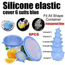 6 Pieces Silicone Stretch Suction Pot Lids Kitchen Cover Pan Storage Bowl