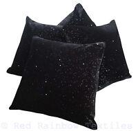Set of 4 Starry Night Sparkle Black 17 inch Velvet Bling Sequin Cushion Covers