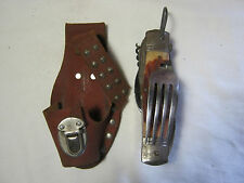 VINTAGE CAMPING SURVIVAL SPOON FORK MULTI TOOL FOLDING KNIFE WITH CASE     T*