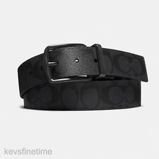 "New COACH Men Matte Black Buckle Logo Reversible 1.5"" Belt Cut to Size F64839"