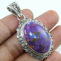 Purple Copper Turquoise Gemstone Pendant 925 Sterling Silver Jewelry
