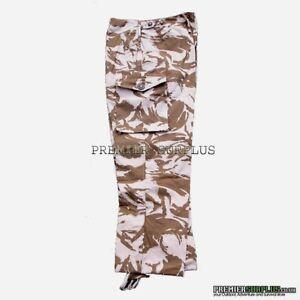 Genuine British Army Desert Camo Windproof Trousers Pants, NEW Size 36-39 waist