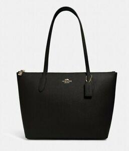 New Coach 4454 Zip Top Tote handbag Leather Black