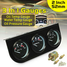 """2"""" 52mm 3 in1 Car LED Electronic Pointer Gauge Oil Temp Water Temp Oil Pressure"""