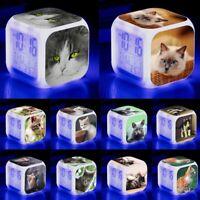 Cat Kitten Lovely Cute Alarm Digital Clock LED Light Night Glowing Color Change