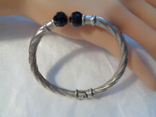 STERLING BRACELET HINGED TO THE BACK W, FACETED BLACK CRYSTAL STONES