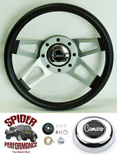 "1969-1994 Camaro steering wheel Camaro horn button 13 1/2"" Grant Silver 4 Spoke"