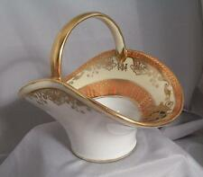 Gorgeous Noritake 1918 Gold Gilt Cobalt Rose Crest Porcelain Basket