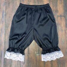 VINTAGE BLACK SHINY SATIN BLOOMERS WHITE LACE PANTIES LEG LINGERIE 12-14 #388