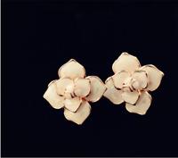 Boucles d'Oreilles CLIP ON Doré Rose Lucky Fleur RoseTrèfle Email Blanc J15