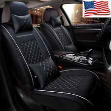 Car Seat Cover Size L PU Leather 5-Seats Front & Rear Cushion W/pillows US SHIP